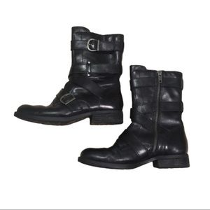 BORN Alamid Leather Moto Boot 6 Black